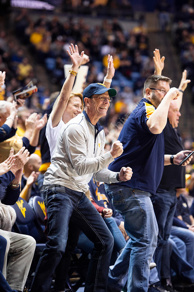 A fan celbrates after a play. WVU Men's Basketball took on Iowa State on February 5, 2020 in the Coliseum. (WVU Photo/Parker Sheppard)