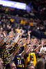 Students raise their hands for a free throw. WVU Men's Basketball took on Iowa State on February 5, 2020 in the Coliseum. (WVU Photo/Parker Sheppard)