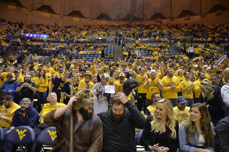 WVU Men's Basketball took on Kansas on February 13, 2020 in the Coliseum. (WVU Photo/Parker Sheppard)