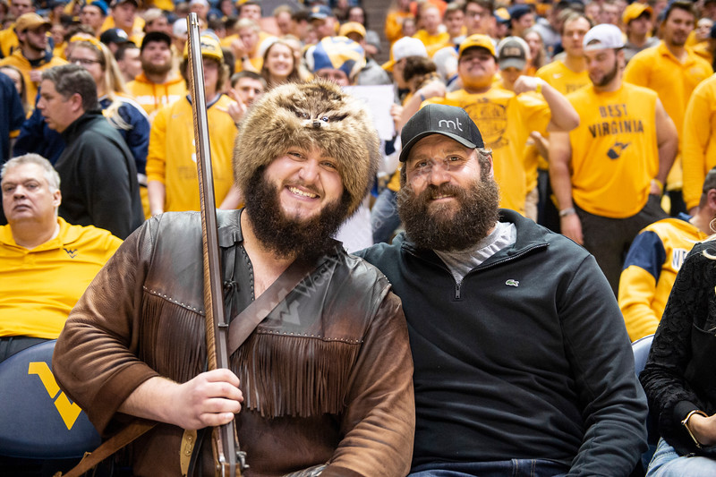 Ben Roethlisberger takes a picture with the Mountaineer. WVU Men's Basketball took on Kansas on February 13, 2020 in the Coliseum. (WVU Photo/Parker Sheppard)