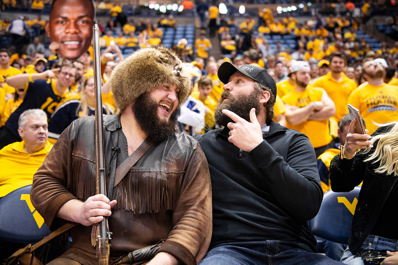 Ben Rothlesberger sits with the Mountaineer. WVU Men's Basketball took on Kansas on February 13, 2020 in the Coliseum. (WVU Photo/Parker Sheppard)