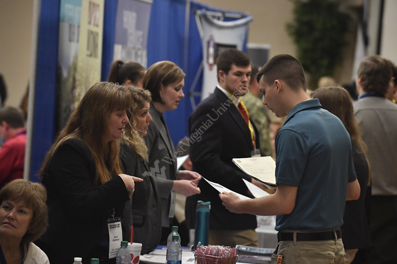 General event coverage of the Career Fair in the Mountainlair February 20th, 2020.  (WVU Photo/Brian Persinger)