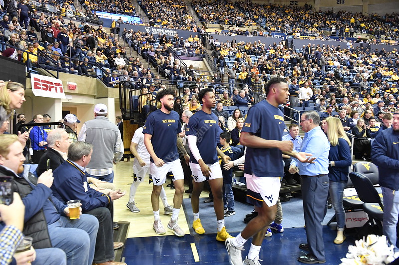 The Men's Basketball Team hosts Okhlahoma at the Coliseum February 29th, 2020.  (WVU Photo/Brian Persinger)