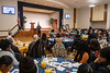 Keynote Speaker Eugene Napoleon addresses those in attendance at the 25th Anniversary MLK Breakfast at the Mountainlair January 20th, 2020.  (WVU Photo/Brian Persinger)