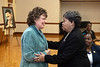 Former Morgantown Mayor Charlene Marshall congratulates Jan Derry, recipient of the 2020 MLK Achievement Award during the  25th Anniversary MLK Breakfast at the Mountainlair January 20th, 2020.  (WVU Photo/Brian Persinger)