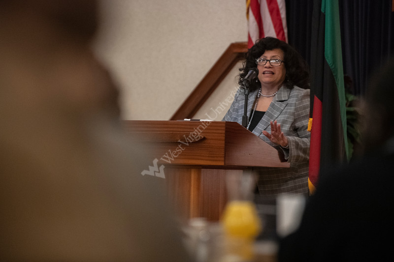Center for Black Culture and Research director Marjorie Fuller addresses those in attendance during the 25th Anniversary MLK Breakfast at the Mountainlair January 20th, 2020.  (WVU Photo/Brian Persinger)