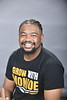 2020 Herman Moses Scholarship recipient Khufu Edwards poses for photographs in the One Waterfront Studio February 5th, 2020.  (WVU Photo/Brian Persinger)
