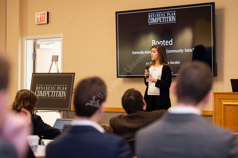 Emma Larry gives her elevator pitch to a group of judges. Semifinalists compete in the Business Plan Competition Semifinals at the Falcon Center in Fairmont, WV on January 31, 2020. (WVU Photo/Parker Sheppard)