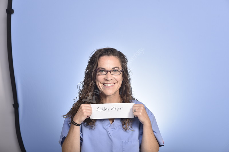 WVU Medicine Pediatrics Ashley Myers poses for a portrait at the HSC Studio, July 16, 2020. (WVU Photo/Greg Ellis)