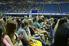 The ribbon board welcomes students to Morgantown during the New Student Welcome in the WVU Coliseum. Photo by Scott Lituchy / West Virginia University