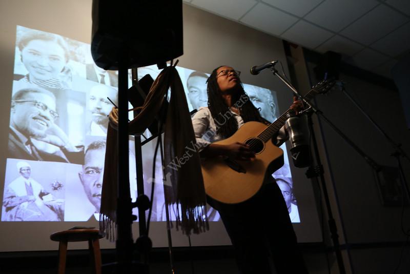 Lea Morris performs at Coffee House/Poetry at the Rhododendown Room.