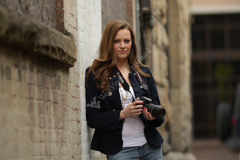 WVU student Lauren Schiefelbein has a passion for photography and filmmaking. She will be featured in WVUToday's Meet the Grads. Photographed in downtown Morgantown. 4/15/2015 Photo by Scott Lituchy / West Virginia University