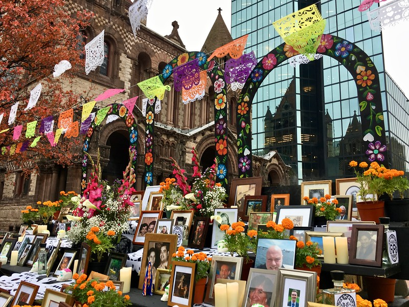 Día de Muertos altar in Copley Square in Boston