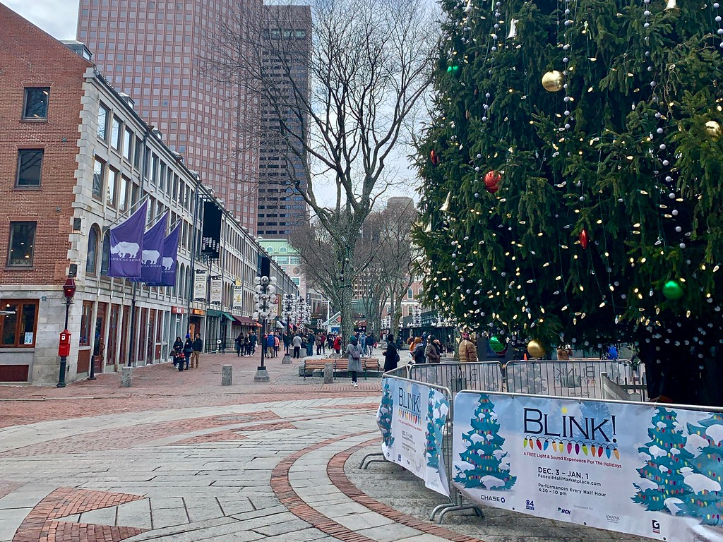 the holiday tree at Faneuil Hall in Boston, Massachusetts