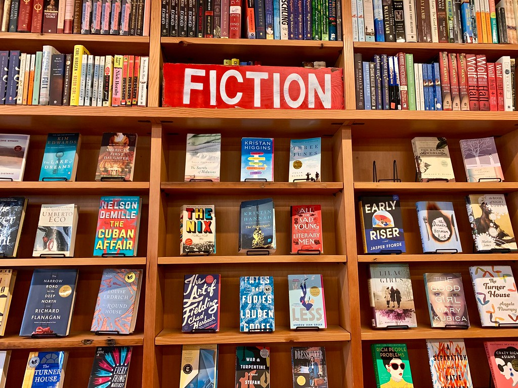 shelf of Fiction books at a book store