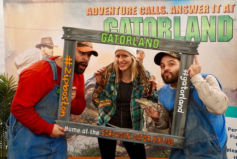 Brianne Miers with Gatorland Orlando staff and animals