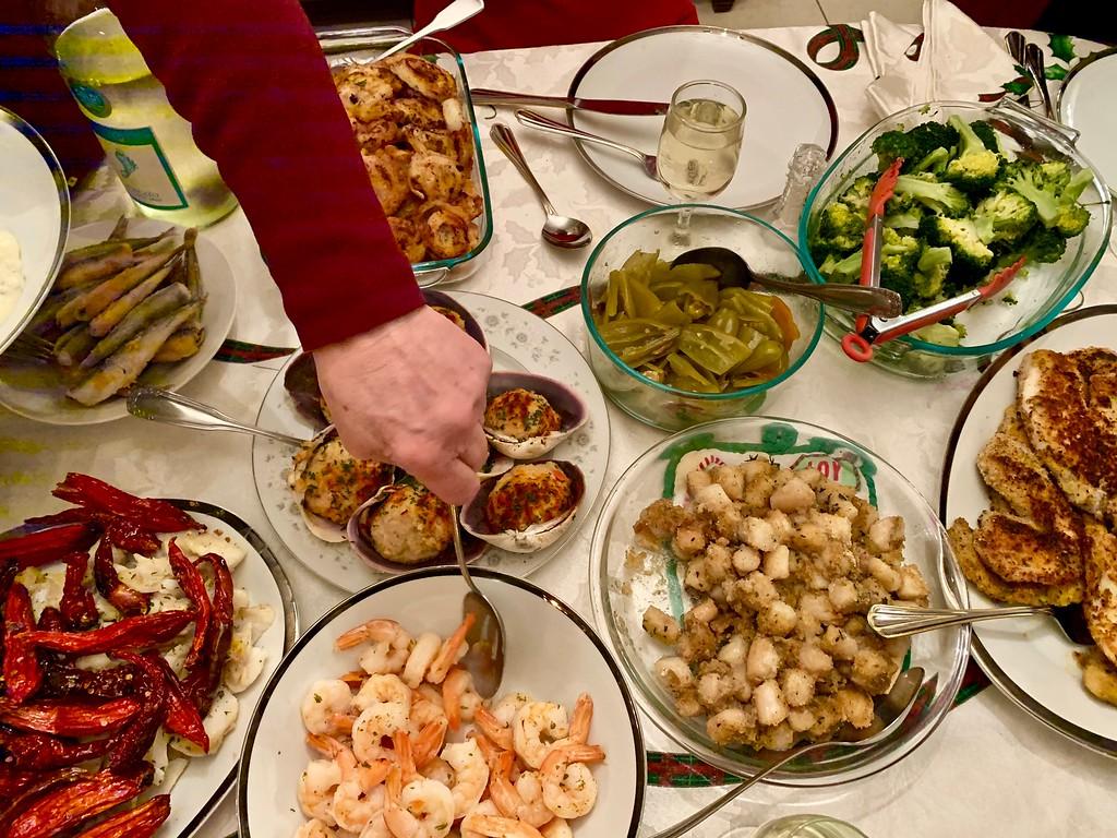 Feast of the Seven Fishes dinner in East Boston, Massachusetts