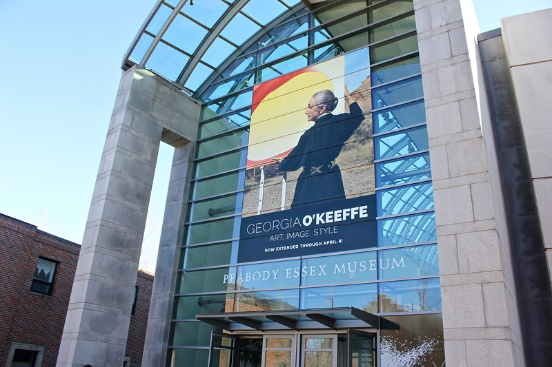 the Georgia O'Keefe exhibit advertised outside the Peabody-Essex Museum in Salem, Massachusetts