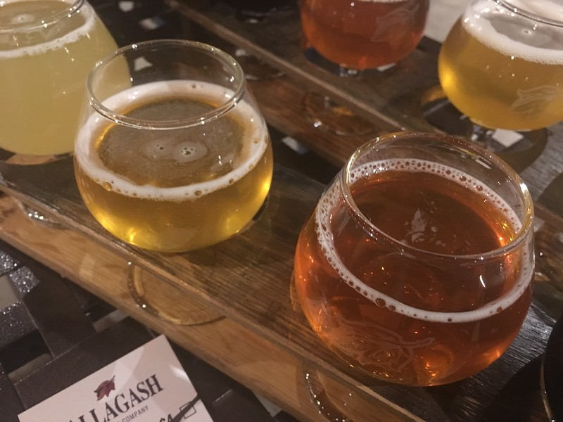 beer flights at Allagash Brewery in Portland, Maine