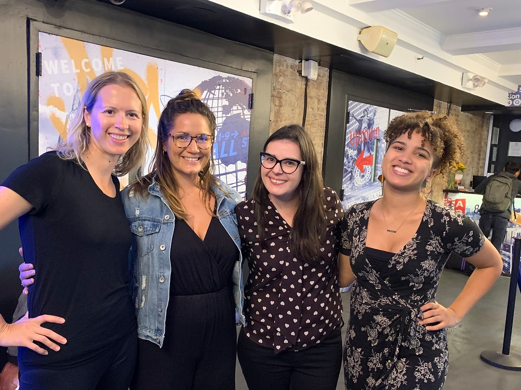 Brianne Miers, Lola Mendez, Nicolette Orlemans and Gabby Beckford at the Study Abroad Summit at Hostelling International in New York City