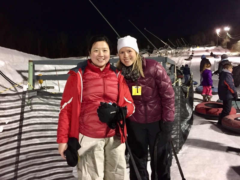 Fiona Chandra and Brianne Miers snow tubing at Ski Ward in Shrewsbury, MA