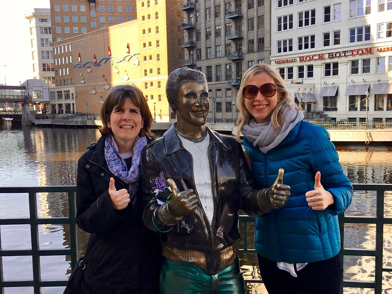 the Bronze Fonz in Milwaukee, Wisconsin