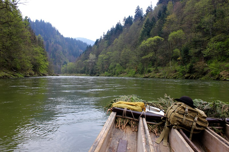 wooden raft on Dunajec River