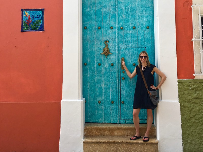 Brianne Miers in front of a door in Cartagena, Colombia
