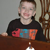 Chandler's cupcake on his b-day dinner with Grandma Brown.