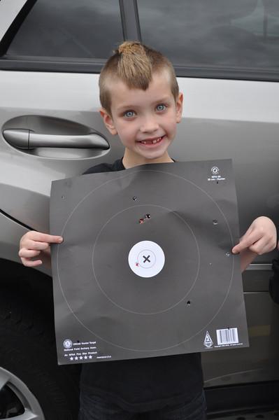 Proud of his target!