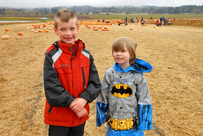 The boys post pumpkin picking.