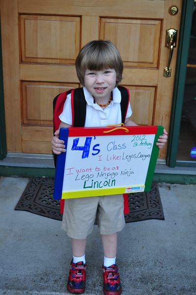 Lincoln on his first day of school, 9/5/12.