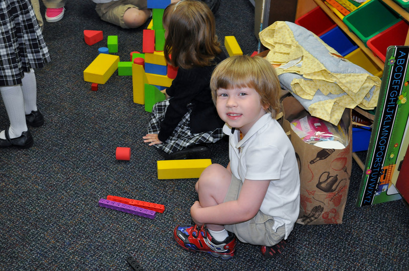 Lincoln at school playing with some blocks.