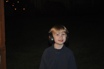 Lincoln complete with his rock star headphones. :)