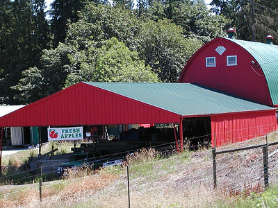 bright red barn with apple sign, Elliot Rd