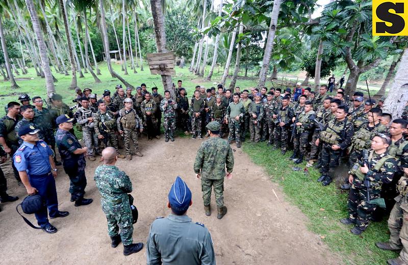 Soldiers at Abu Sayyaf hide-out in Inabanga, Bohol