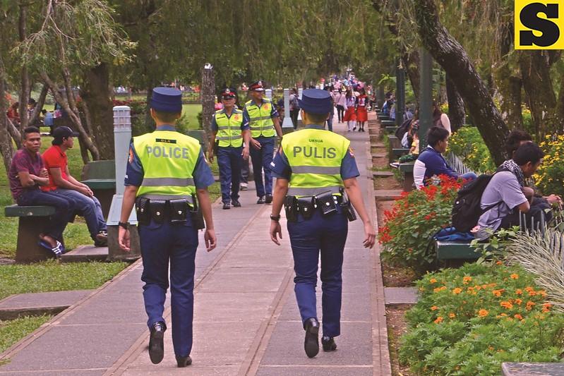Baguio police officers at Burnham Park