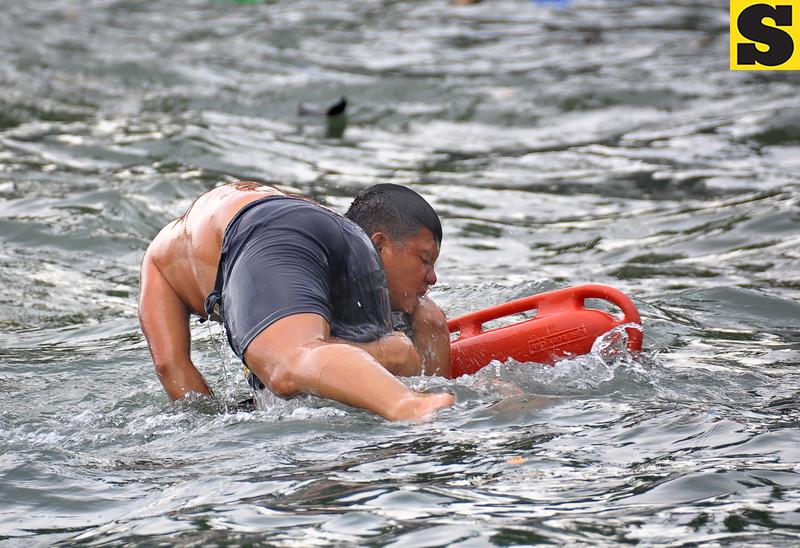 Coast Guard member during rescue training