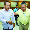 YOLANDA ON THEIR MINDS. Cebu Gov. Hilario Davide III (right) and Task Force Paglig-on head Baltazar Tribunalo Jr. chat during a discussion with mayors and other representatives from 15 northern Cebu towns and a city still recovering from typhoon Yolanda.(SUN.STAR FOTO/ARNI ACLAO)