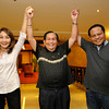 CEBU. Rep. Pablo Garcia (center) says he is confident his daughter, Gov. Gwendolyn Garcia (left), will make it to the Senate in the 2013 elections given the support that she will get from his colleagues in Congress and from her bailiwick, Cebu. His son Rep. Pablo John Garcia (right) also announced his bid to run for governor during a meeting of the One Cebu Party held at Marco Polo Hotel in Cebu City. The father had served as governor of Cebu as well.(Arni Aclao)