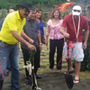 ZAMBOANGA. Australian professional golfer Greg Norman (right) and Zamboanga del Norte Rep. Cesar Jalosjos (left) lead the ground breaking of the golf course in Dakak Park and Beach Resort. (Bong Garcia)