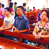 THANKSGIVING. Bacolod brothers Niño, Ricky (second, third from left) and Josebil (right, back row) hear mass together with Thelma Chiong (right, front row) at the Cebu Metropolitan Cathedral, following the conviction of Dinagat Rep. Ruben Ecleo Jr. (Allan Defensor)