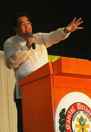 CAGAYAN DE ORO. Rep. Rufus Rodriguez presents the different bills he filed in congress that would benefit the labor sector in the country during a Labor Day celebration on Tuesday at Capitol University. (Joey P. Nacalaban)