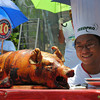 DAGUPAN. Melchor Corpuz of Barangay Bonuan Gueset wins the Dagupan's Best Special Lechon Cook-Off held Tuesday morning. The event is part of the Bangus Festival celebration. (Liway Manantan-Yparraguirre)