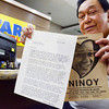 REMEMBERING. Former Cebu City congressman Antonio Cuenco shows to Sun.Star Cebu Sen. Benigno Aquino Jr.'s letter to him in June 1983 and the late senator's arrival statement, urging the opposition to unite. (Sun.Star Photo/Amper Campana)