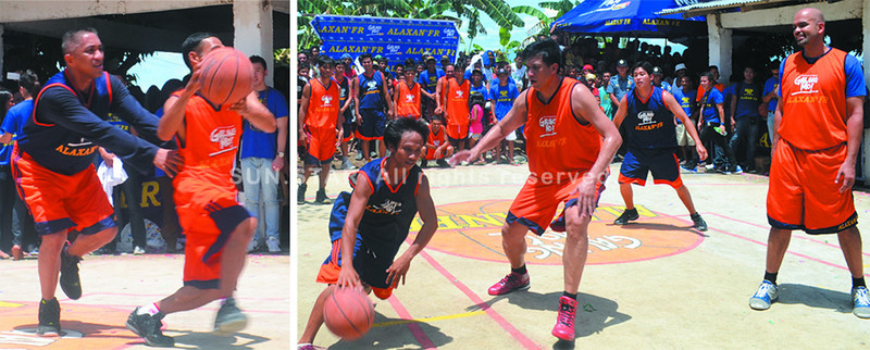 "BACOLOD. ""The Point Laureate"" Ronnie Magsanoc (left photo) playfully tugs at the jersey of a Barangay Taloc hoopster whose teammates (right photo), though definitely out-sized, were unfazed in playing against ""Defense Minister"" Jerry Codiñera and ""Tower of Power"" Benjie Paras. (Gilbur Guarte)"