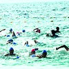 FIRST OPEN SEA SWIM LEG. 139 participants of the Alaska Ironkids Philippines Triathlon competed yesterday at the Shangrila Resort and Spa, Lapu-lapu City. (Allan Defensor)