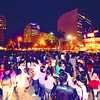 KEEPING IT TOGETHER.Employees in the business process outsourcing companies at the IT Park, Cebu City gather in an open square within minutes after the quake at 8:47 p.m. (Sun.Star Photo/Alex Badayos)