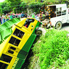 CEBU. A rescue crew tows a barangay's minibus from a ravine in San Carlos Heights, Barangay Quiot, Cebu City. (Allan Defensor photo/Sun.Star Cebu)