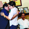 "CEBU. Deputy Speaker Pablo Garcia greets his daughter, Gov. Gwendolyn Garcia (right), a few hours after she appealed, on her Twitter account, ""We are surrounded. We only hope Cebuanos will come to help us."" Among their guests yesterday morning was Cebu City Mayor Michael Rama. (Amper Campaña)"